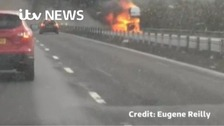Footage of large lorry fire on M4
