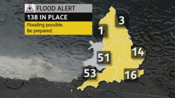Map showing the Flood Alerts across the UK 