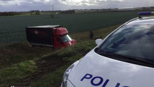 Police tweeted this picture of the truck marooned in a field