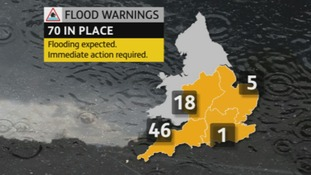 A map showing flood warnings across the UK