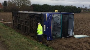 First Buses suspended it Norwich-Peterborough service after the bus blew over.