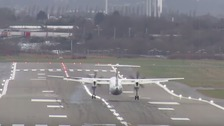 Storm Doris: Aircraft skids on landing at Birmingham
