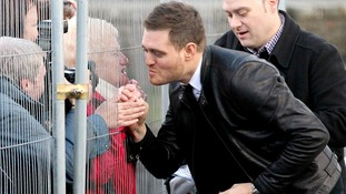 Michael Buble meets fans as he arrives for the Rod Stewart Christmas Special