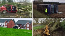 Photos show Storm Doris damage as 95mph winds batter Britain