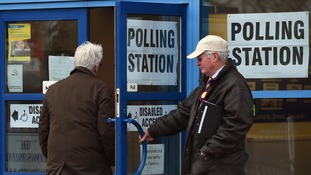 Voters arrived at a polling station in Stoke-on-Trent earlier on Thursday