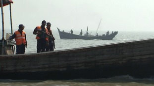 The threat of piracy means armed officers had to escort ITV News to the island.
