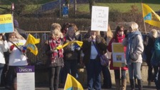 Around 250 people attended the protest outside Durham County Council headquarters