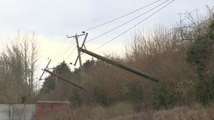Telegraph poles blown over in Norfolk.