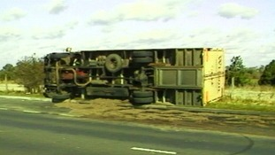 A lorry overturned by the strong winds during the Great Storm of October 1987.
