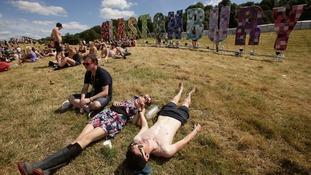 Sun at the Glastonbury festival
