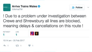 Arriva Trains Wales tweeted that there are no trains running between Crewe and Shrewsbury
