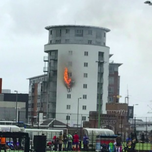 Fire in block of flats by Gunwharf Quays