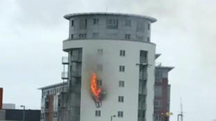 Fire at block of flats at Gunwharf Quays