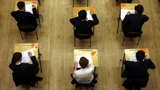 A-level students sitting exams
