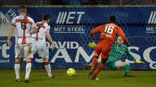 Portadown's Marcio Soares fires past Sean ONeill to make it 1-1.