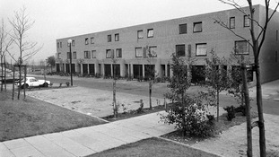 How the first housing estates looked in the newly developed Milton Keynes in 1980
