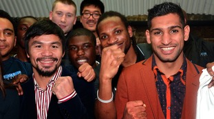 Khan poses with next opponent Manny Pacquiao
