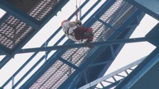 Kitty Grove-Stephensen abseils down Transporter Bridge