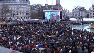 Thousands pack Trafalgar Square for screening