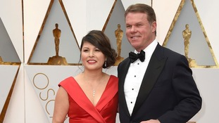 PWC's Martha Ruiz and Brian Cullinan arrive at the Oscars.