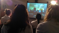 Students hold video conference with a school in Nigeria