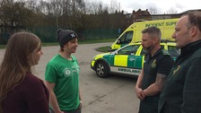 Cyclist reunited with ambulance staff who saved his life