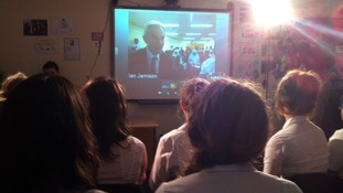 Tony Blair holds video conference with students in Derby