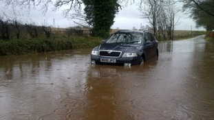 Car stuck in flood waters, Dumfries