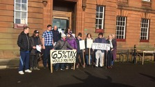 Protestors gather outside Dumfries & Galloway Council HQ