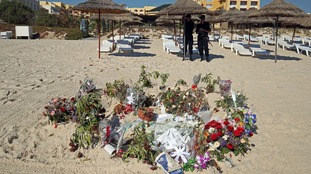 Flowers and tributes left at the scene of the attack.