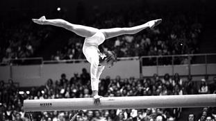 Korbut performs at the 1976 Montreal Olympics.