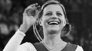 Korbut with one of her 1972 Munich Olympics gold medals.