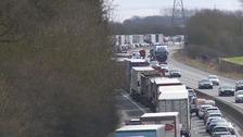 Long delays on M11 after six vehicle crash