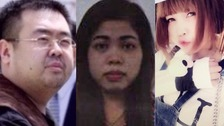 Victim Kim Jong Nam and accused Siti Aisyah and Doan Thi Huong.