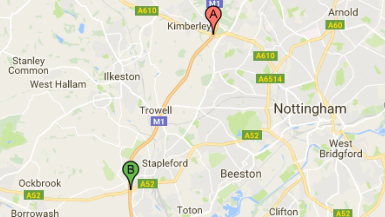 Roads M1 Southbound Nottinghamshire Lane Blocked Due