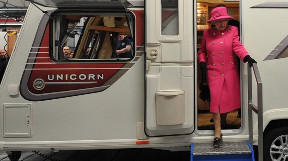 It is believed to be the first time the Queen has been in a moving motorhome