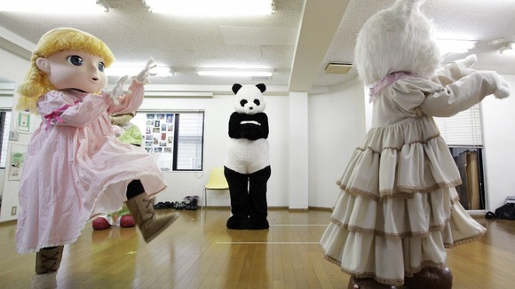 Trainees at the Choko Group mascot school in Tokyo