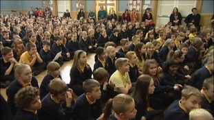 Pupils listen to former pupil, Olympic star Anna Watkins