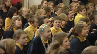 Anna Watkins talks to pupils at her old school