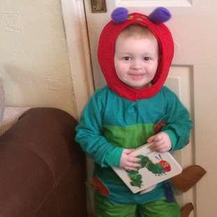 Ieuan George, 3, as the Very Hungry Caterpillar in Tonyrefail.