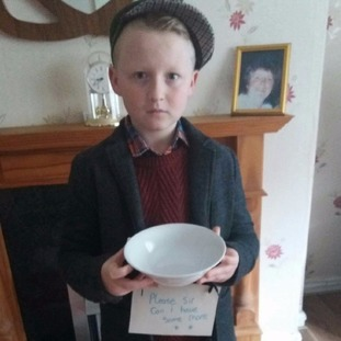 Mackenzie Robertson, 10, as Oliver Twist in Hengoed.