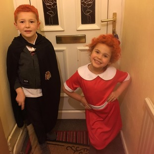Danny, 7, as Ron Weasley and Laylah, 4, as Annie.