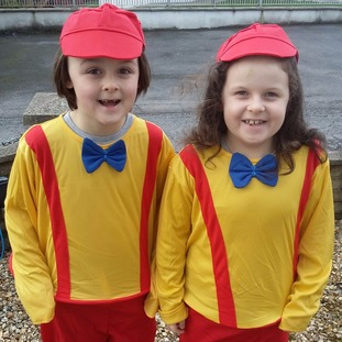 Twins Llew & Gruff Jones, 6, as TweedleDum and TweedleDee in Cwmllynfell.