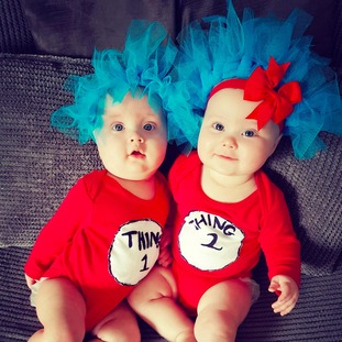 Twins Ellis & Esmé, 7 months, as Thing 1 and Thing 2.