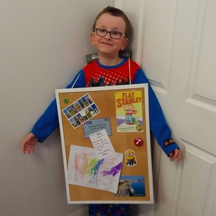 Jack Rigdon, 7, as Flat Stanley in Swansea.