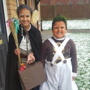 Suhana Uddin, aged 9, dressed as the BFG and Haaq Uddin aged 5 dressed as an oompa loompa