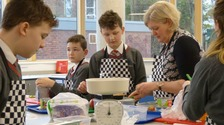 Year 8 students in their first Food Technology lesson in the new kitchen