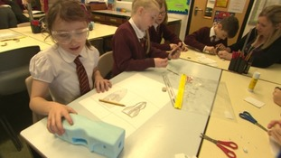 Pupils making Bloodhound inspired models