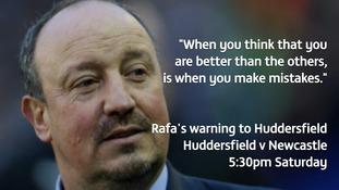 Rafa Benitez's Newcastle prepare to take on Huddersfield