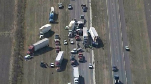 An aerial view of the accident site on Interstate 10 in Texas
